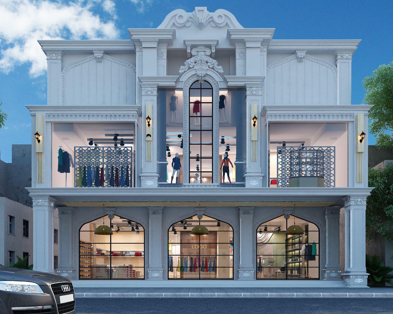 تصميم بناية تجارية في شارع فلسطين