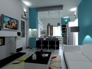 تصميم وتنفيذ غرفة معيشة في شقة نموذجية مجمع الشعب السكني