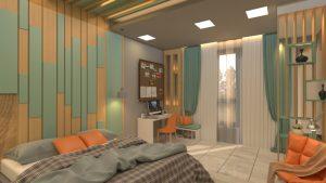 تصميم غرفة نوم مفردة مودرن في منطقة الوزيرية