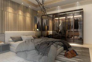 تصميم غرفة نوم مزدوجة مودرن في منطقة حي العدل