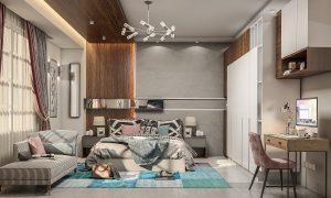 تصميم غرفة نوم مزدوجة مودرن في منطقة المنصور
