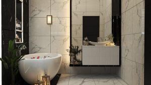 تصميم وتنفيذ  حمام غرفة نوم ماستر في بيت  في منطقة البنوك