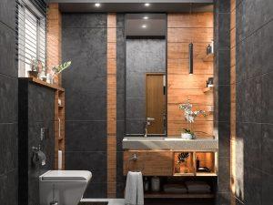 تصميم وتنفيذ  حمام الضيوف في بيت  في منطقة البنوك