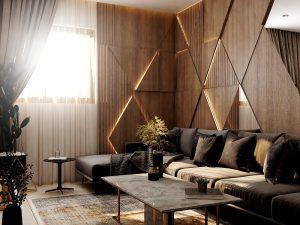 تصميم وتنفيذ  غرفة معيشة في مجمع الشعب السكني