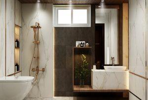تصميم وتنفيذ  حمام في منطقة زيونة