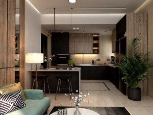 تصميم وتنفيذ  غرفة معيشة لشقة في مجمع الشعب السكني